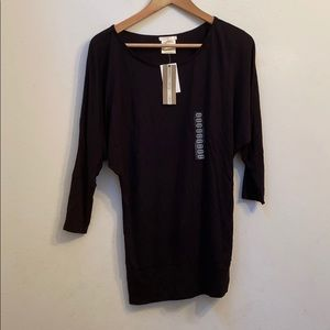 Marry M solid black 3/4 sleeve top